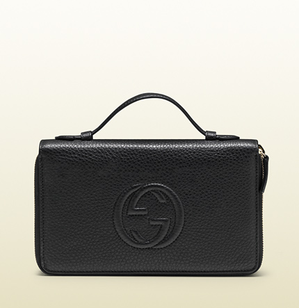 Gucci black leather travel document case