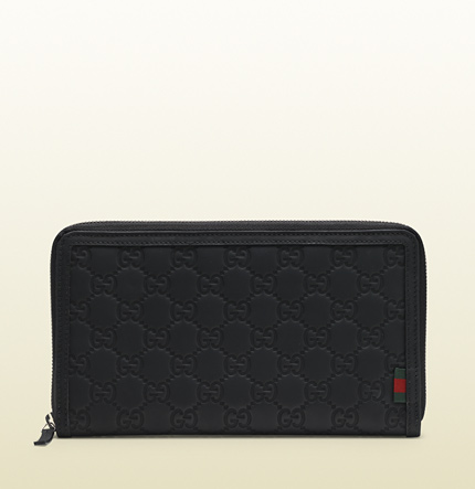 Gucci black guccissima leather zip-around wallet