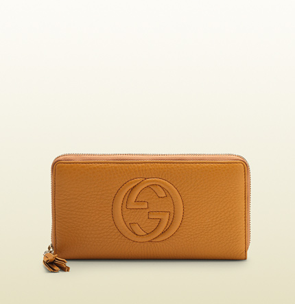 Gucci soho light sunflower leather zip around wallet