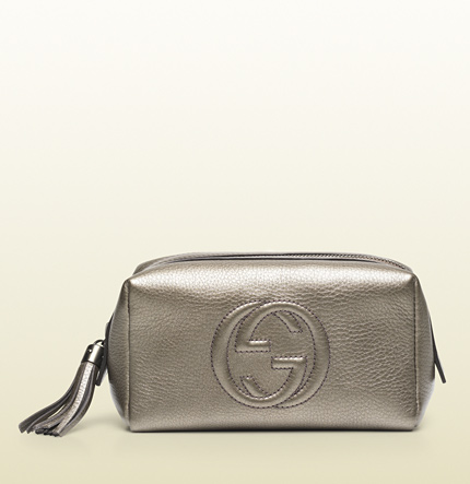 Gucci soho metallic leather cosmetic case