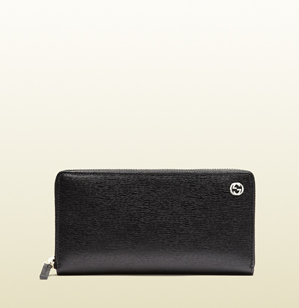 Gucci betty black leather zip around wallet