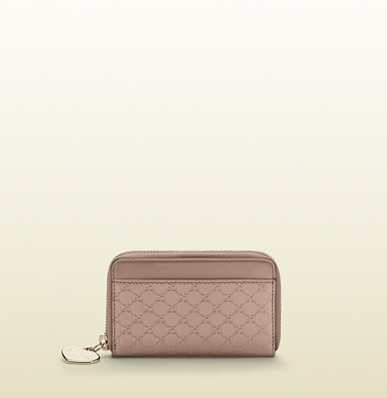 Gucci light pink shiny micro gg leather card case