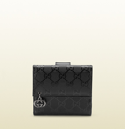 Gucci black GG imprimée leather flap french wallet