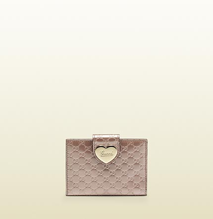Gucci light pink shiny micro gg leather travel case