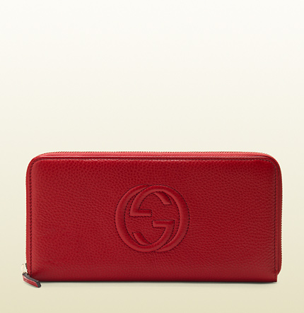 Gucci red leather zip-around wallet