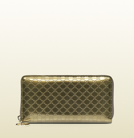 Gucci shiny guccissima leather zip around wallet