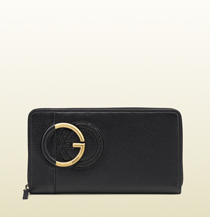 Gucci large black leather zip around wallet