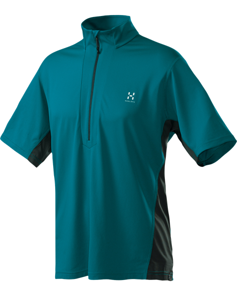 HAGLOFS MEN TEMPO SS ZIP TEE teal blue/charcoal
