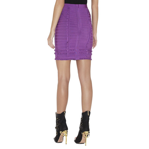 HERVE LEGER MIRNI TIERED-RUFFLE SKIRT BRIGHT VIOLET