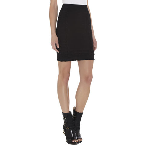 HERVE LEGER MIRNI TIERED-RUFFLE SKIRT BLACK