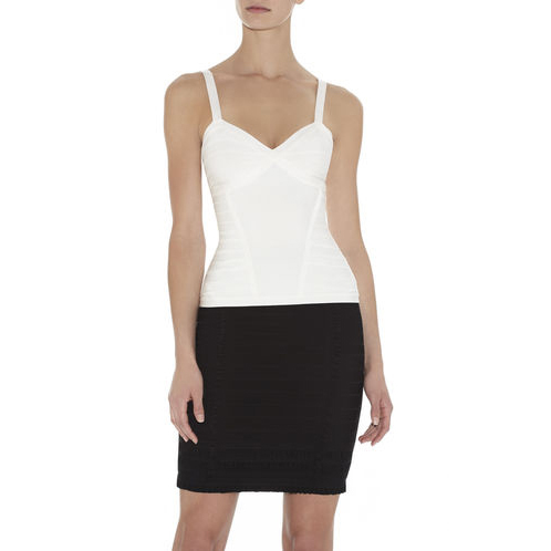 HERVE LEGER SUMA ESSENTIAL SLEEVELESS TOP ALABASTER