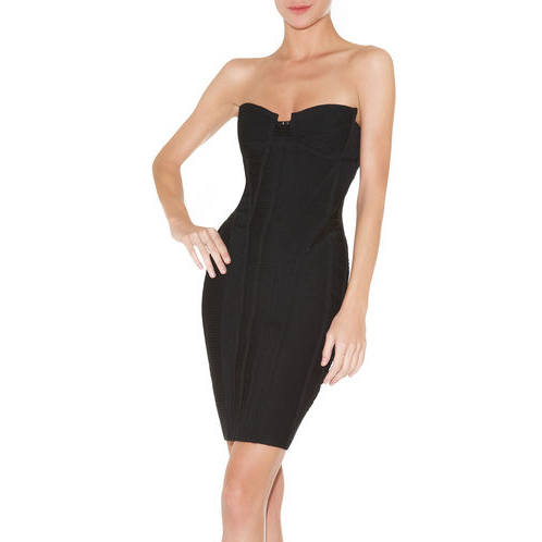 HERVE LEGER MIKINO STRAPLESS BEADED BANDAGE DRESS BLACK