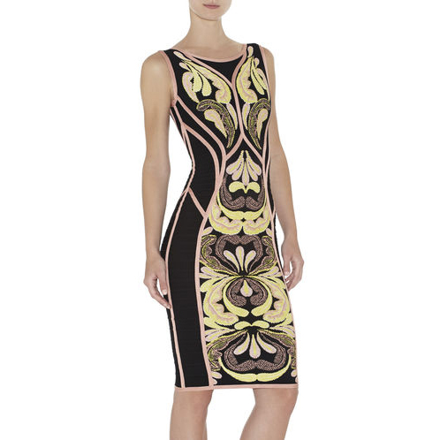 HERVE LEGER DREE PAISLEY JACQUARD SLEEVELESS DRESS BLUSH POWDER COMBO