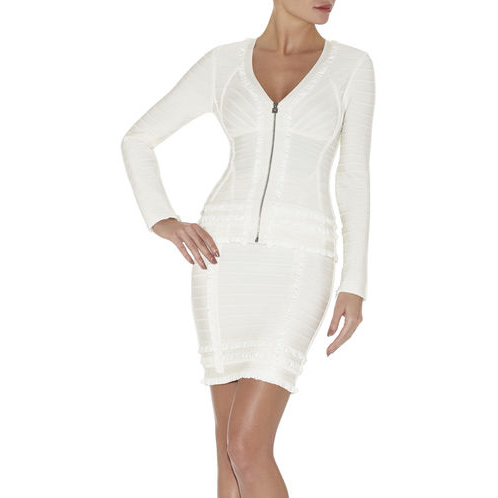 HERVE LEGER PHILIPE TIERED-RUFFLE JACKET ALABASTER