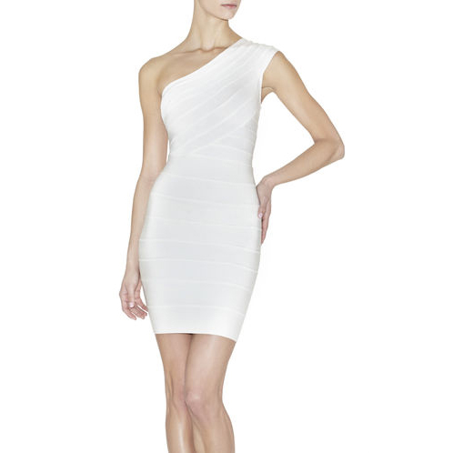 HERVE LEGER JOSEPHINE ONE-SHOULDER DRESS ALABASTER