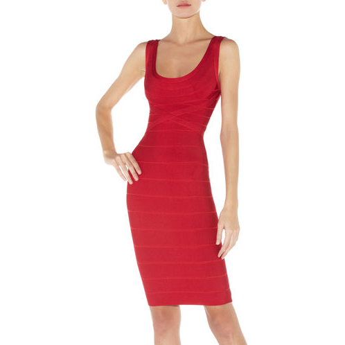 HERVE LEGER MARIA BANDAGE DRESS RIO RED