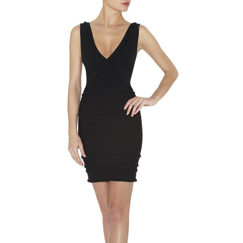 HERVE LEGER SELINE TIERED-RUFFLE DRESS BLACK