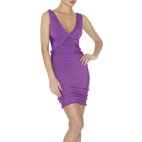 HERVE LEGER SELINE TIERED-RUFFLE DRESS BRIGHT VIOLET