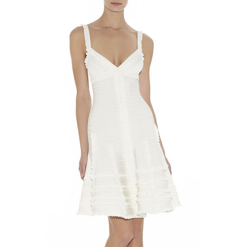 HERVE LEGER MICHAELA TIERED-RUFFLE DRESS ALABASTER