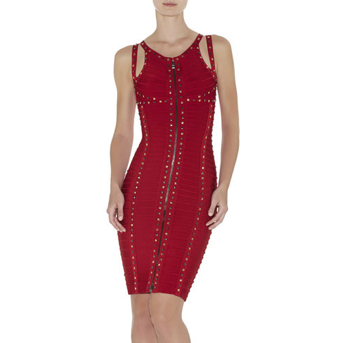 HERVE LEGER HAYDEN STUDDED-DETAIL DRESS LIPSTICK RED