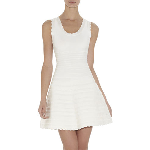 HERVE LEGER JULES SCALLOPED A-LINE BANDAGE DRESS ALABASTER