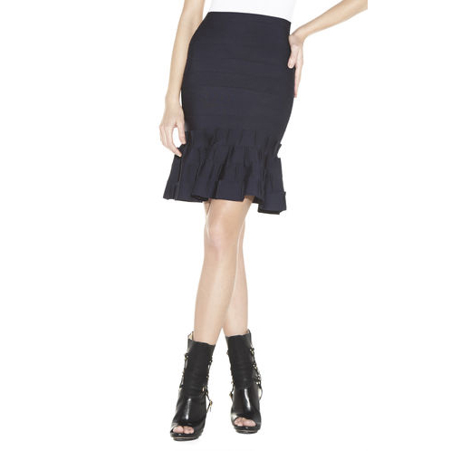 HERVE LEGER CADI A-LINE SKIRT PACIFIC BLUE