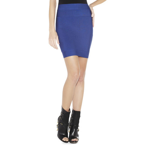 HERVE LEGER CHARLOTTE SIGNATURE ESSENTIAL BANDAGE SKIRT BLUE SAPPHIRE