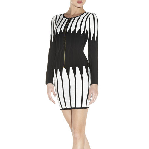 HERVE LEGER MERIDA JAGGED COLORBLOCKED JACKET ALABASTER COMBO
