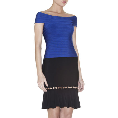 HERVE LEGER PAMELA SIGNATURE ESSENTIAL TOP BLUE SAPPHIRE