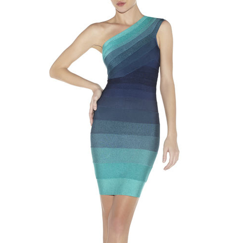 HERVE LEGER ELIANA OMBRE DRESS BRIGHT AQUA COMBO
