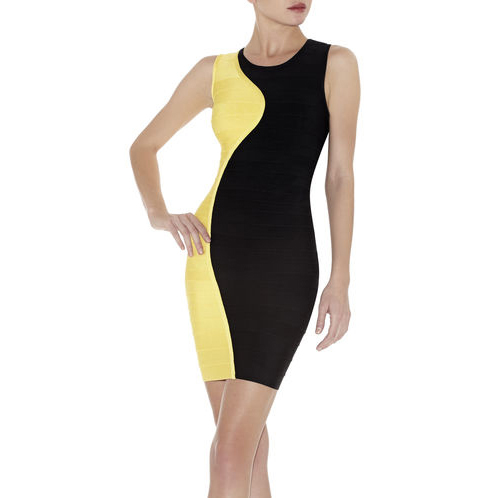 HERVE LEGER PAILEY COLOBLOCKED CONTOUR DRESS RADIANT SUN COMBO
