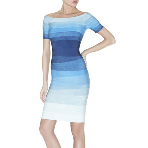 HERVE LEGER JOHANNA OMBRE BANDAGE DRESS ECLIPSE COMBO