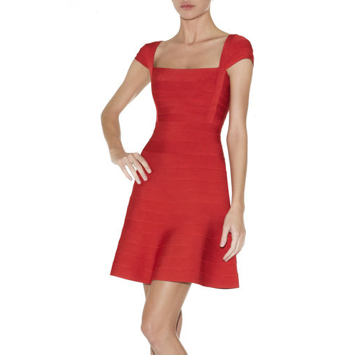 HERVE LEGER JUDE A-LINE BANDAGE DRESS RED LACQUER