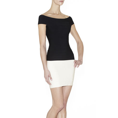 HERVE LEGER PAMELA SIGNATURE ESSENTIAL TOP BLACK