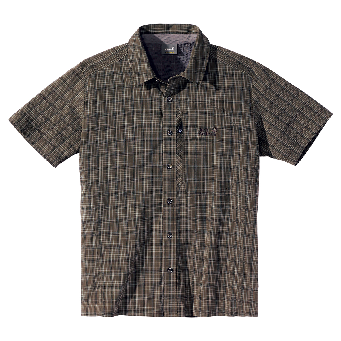 JACK WOLFSKIN MEN MOUNTAIN STRETCH SHIRT GRANITE CHECKS