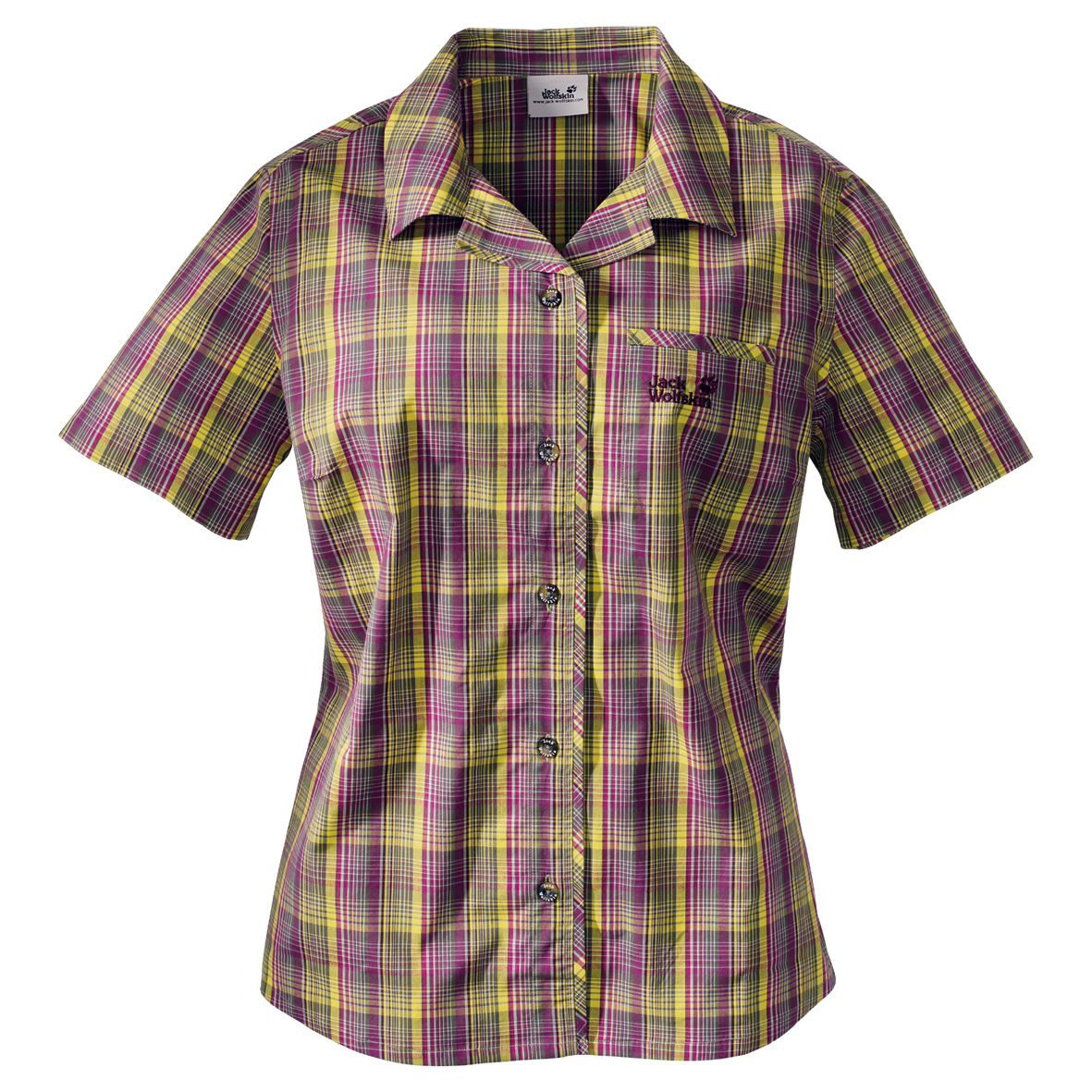 JACK WOLFSKIN WOMEN HOT CHILI GOLDEN PURPLE CHECKS