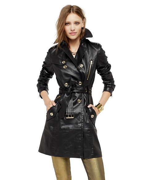 JUICY COUTURE COATED DENIM TRENCH Pitch Black