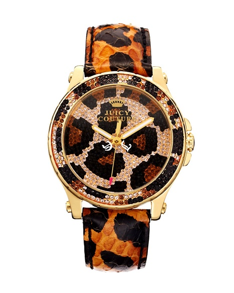 JUICY COUTURE WATCH PEDIGREE PAVE LEOPARD Brown