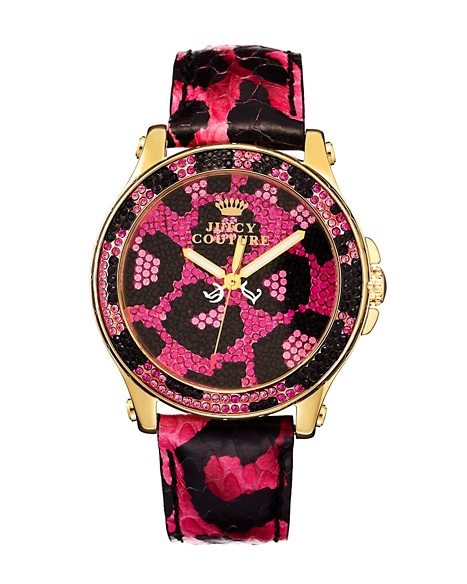 JUICY COUTURE WATCH PEDIGREE PAVE LEOPARD Pink