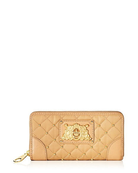 JUICY COUTURE WALLET QUILTED NYLON CONTINENTAL ZIP Rich Camel