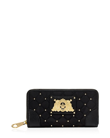 JUICY COUTURE WALLET QUILTED NYLON CONTINENTAL ZIP Black