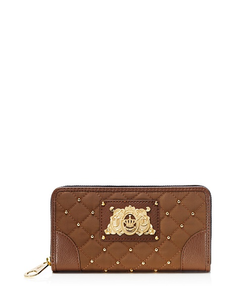 JUICY COUTURE WALLET QUILTED NYLON CONTINENTAL ZIP Mocha