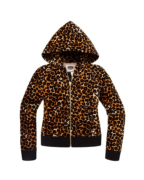 JUICY COUTURE JACKET GIRLS ORIGINAL IN LEOPARD VELOUR Ginger