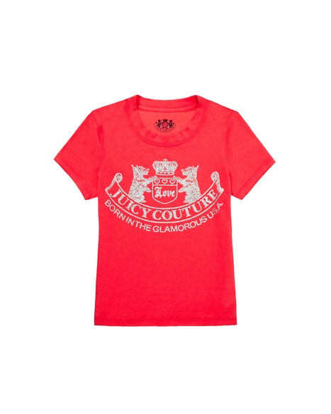JUICY COUTURE GIRLS SCOTTIE LOGO TEE Geranium