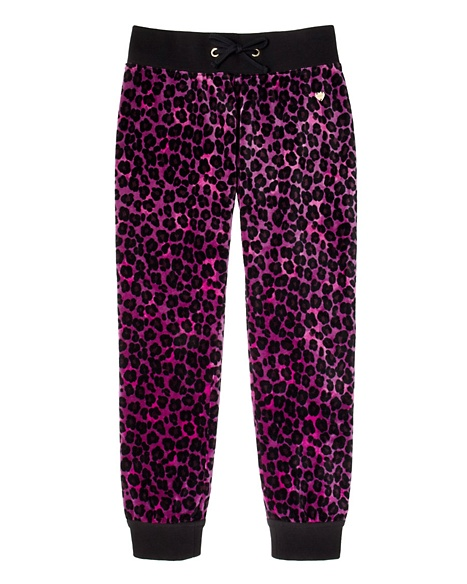 JUICY COUTURE PANT GIRLS ORIGINAL IN LEOPARD VELOUR Berry Leopard Ginger Dark