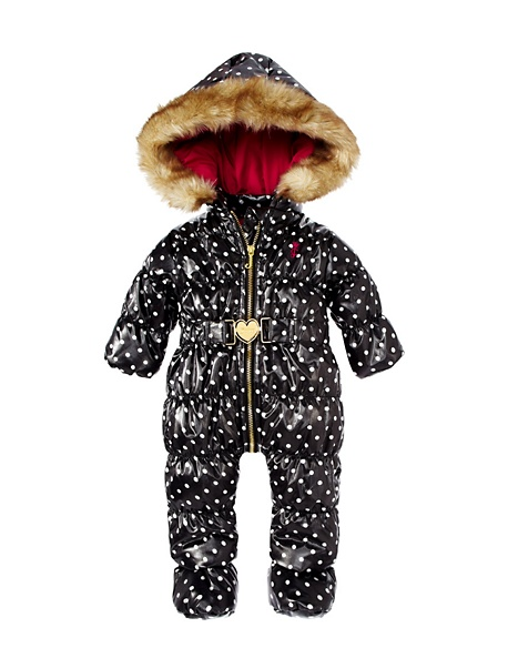 JUICY COUTURE SNOWSUIT DOT PRINT WITH FAUX FUR TRIMMED Dot Black/Angel