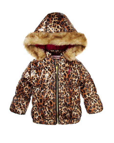 JUICY COUTURE LEOPARD PRINT PUFFER WITH FAUX FUR TRIMMED Leopard Print