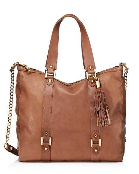 JUICY COUTURE TOTE LUXE LEATHER ZIP TOP Weathered Stone