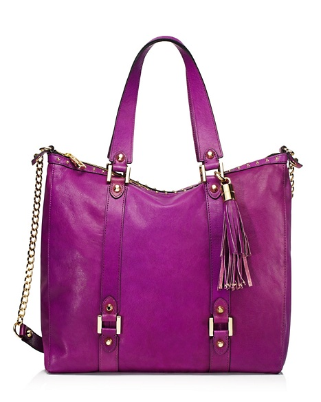 JUICY COUTURE TOTE LUXE LEATHER ZIP TOP Purple