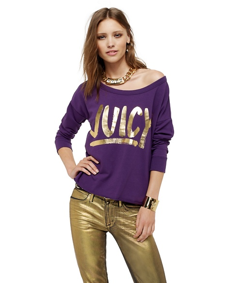 JUICY COUTURE RELAXED IN FRENCH TERRY Jeweled Plum